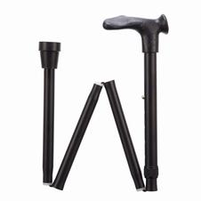 Opvouwbare wandelstok met comfortgrip zwart